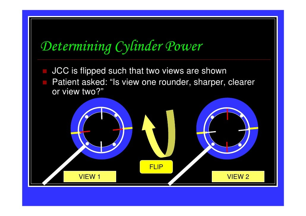 """Determining Cylinder Power JCC is flipped such that two views are shown Patient asked: """"Is view one rounder, sharper, clea..."""