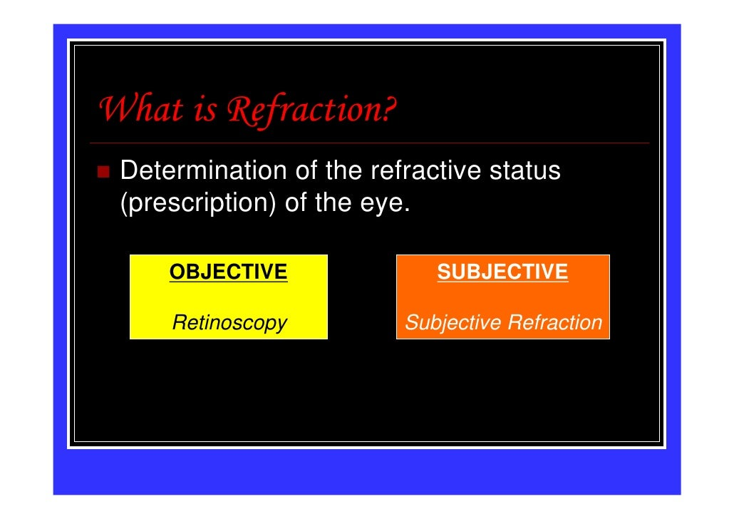 What is Refraction? Determination of the refractive status (prescription) of the eye.     OBJECTIVE              SUBJECTIV...