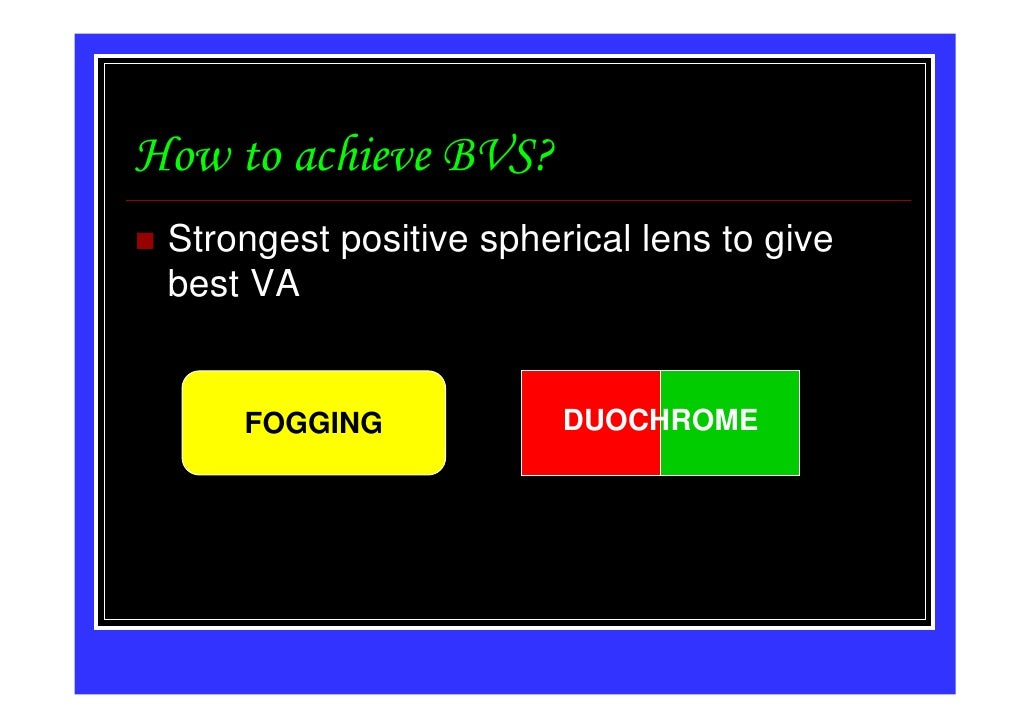 How to achieve BVS? Strongest positive spherical lens to give best VA     FOGGING             DUOCHROME