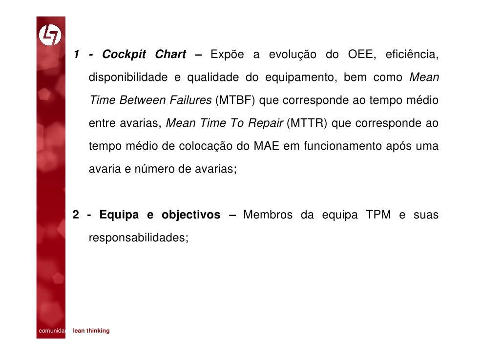 1 - Cockpit Chart – Expõe a evolução do OEE, eficiência,                 disponibilidade e qualidade do equipamento, bem c...