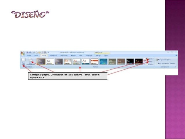 Configurar página, Orientación de la diapositiva, Temas, colores,tipo de letra.