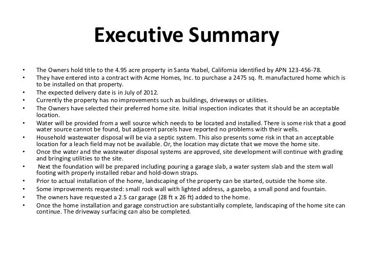 What is a summary on a resume Company Executive Summary Example