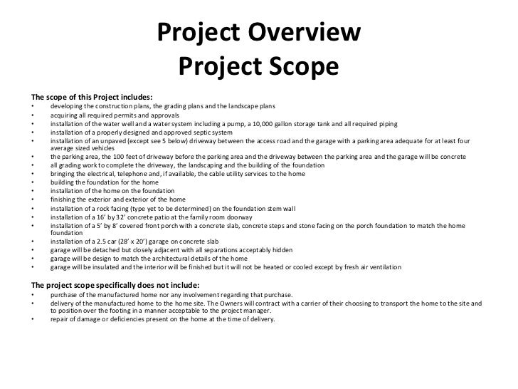 Construction project management class project presentation 8 project overview project scopethe scope pronofoot35fo Gallery