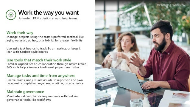 Work the way you want Work their way Manage projects using the team's preferred method, like agile, waterfall, ad hoc, or ...
