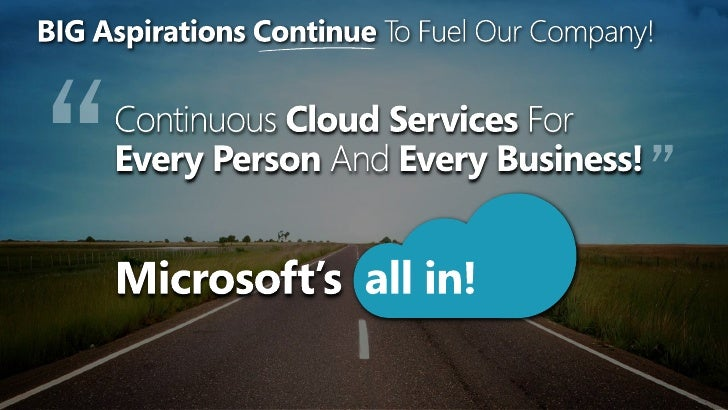 BIG Aspirations ContinueTo Fuel Our Company! <br />WHERE Are We Going?<br />Continuous Cloud Services For Every Person And...