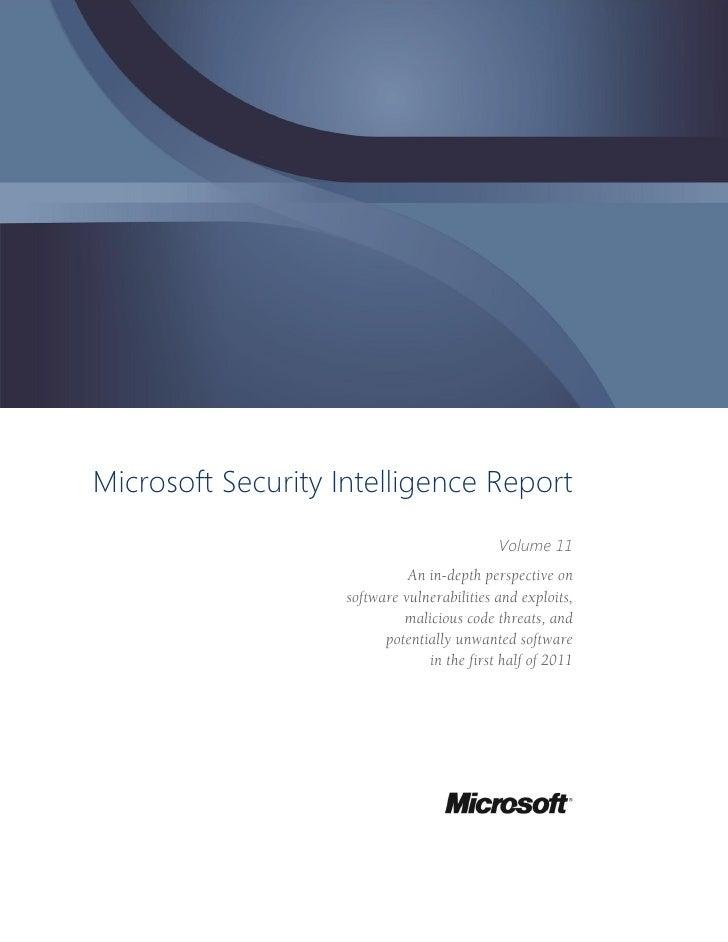 Microsoft Security Intelligence Report                                             Volume 11                              ...