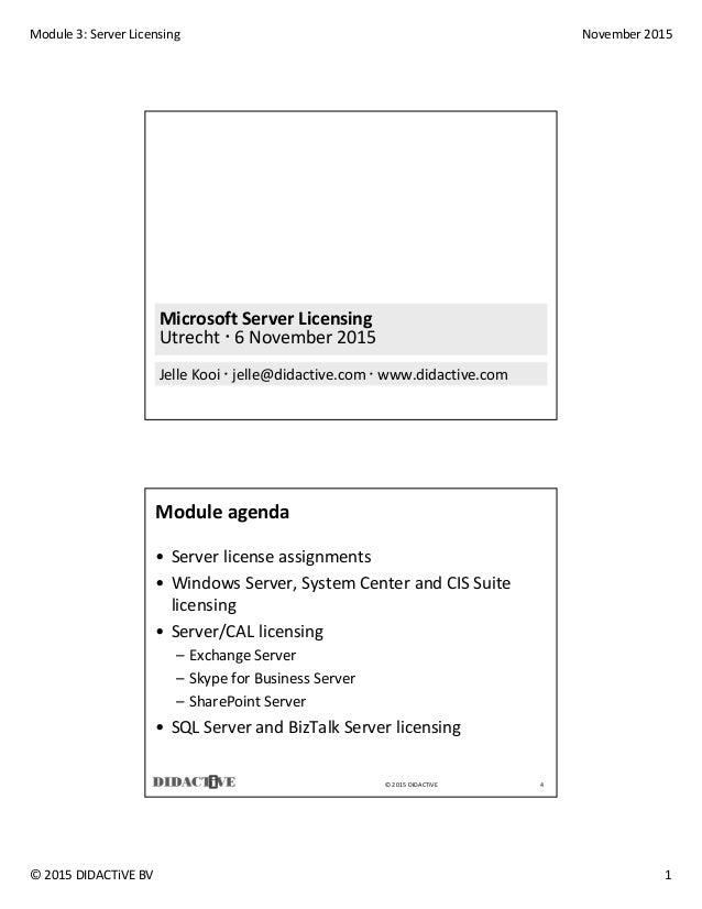 Microsoft server licensing, Jelle kooi, datum 6 november 2015