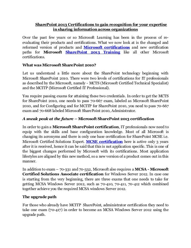 Microsoft Sharepoint 2013 Training And Certifications