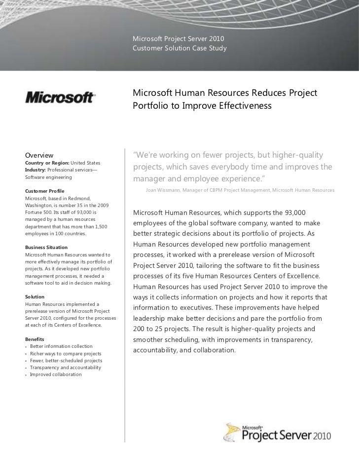 Microsoft Project Server 2010                                            Customer Solution Case Study                     ...