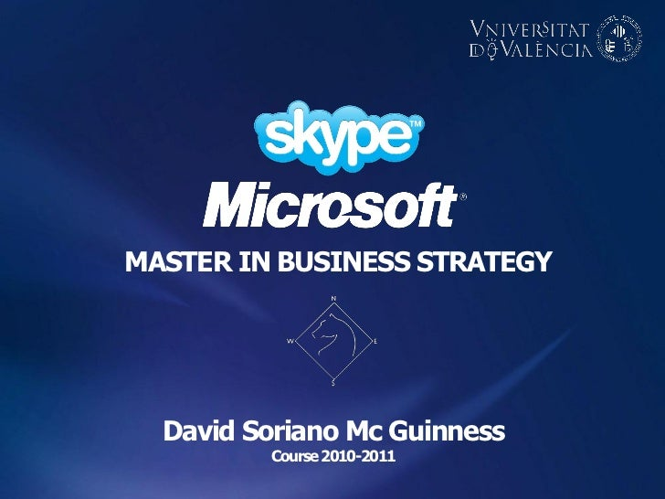 MASTER IN BUSINESS STRATEGY  David Soriano Mc Guinness         Course 2010-2011
