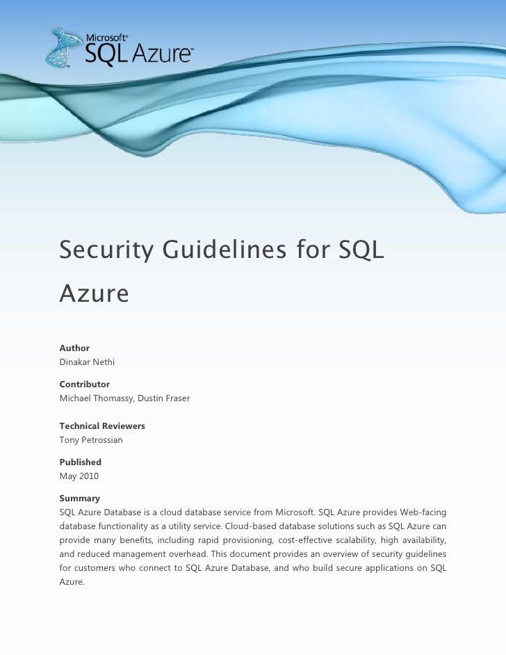 Microsoft SQL Azure - Security Guidelines for SQL Azure Whitepaper