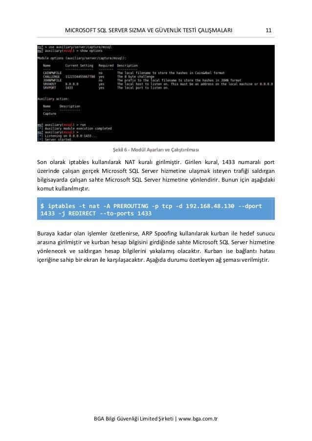 MICROSOFT SQL SERVER SIZMA VE GÜVENLİK TESTİ ÇALIŞMALARI 11 BGA Bilgi Güvenliği Limited Şirketi | www.bga.com.tr Şekil 6 -...