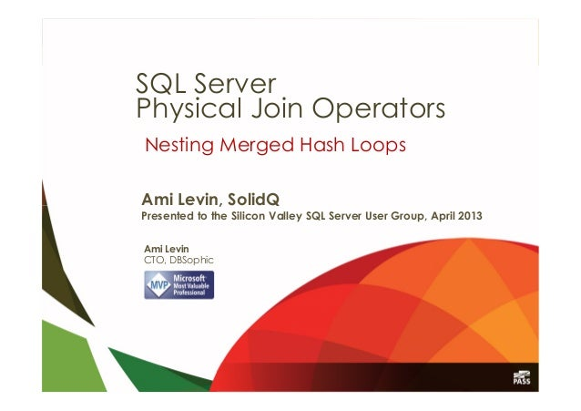 Ami Levin, SolidQPresented to the Silicon Valley SQL Server User Group, April 2013Nesting Merged Hash LoopsAmi LevinCTO, D...