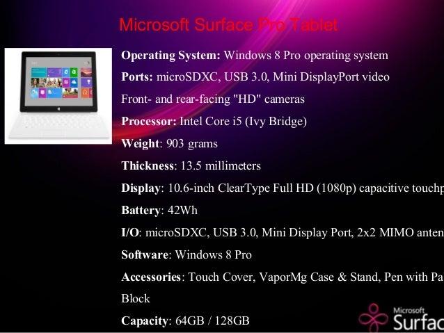 Operating System: Windows 8 Pro operating system Ports: microSDXC, USB 3.0, Mini DisplayPort video Front- and rear-facing ...