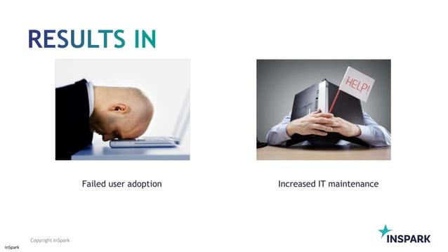 InSpark Copyright InSpark Increased IT maintenanceFailed user adoption