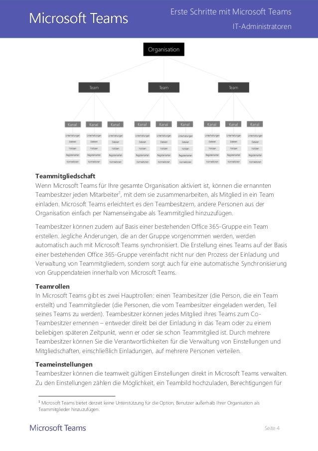 Seite 4 Erste Schritte mit Microsoft Teams IT-Administratoren Teammitgliedschaft Wenn Microsoft Teams für Ihre gesamte Org...