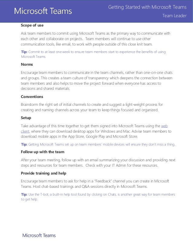 Microsoft Teams Team Leader Getting Started Guide (13 pages)