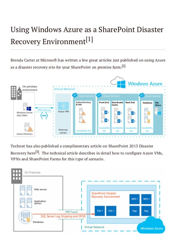 Using Windows Azure as a SharePoint Disaster Recovery Environment[1] Brenda Carter at Microsoft has written a few great ar...