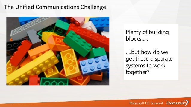 Microsoft UC Summit The Unified Communications Challenge Plenty of building blocks….. ….but how do we get these disparate ...