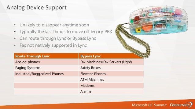 Microsoft UC Summit Analog Device Support • Unlikely to disappear anytime soon • Typically the last things to move off leg...
