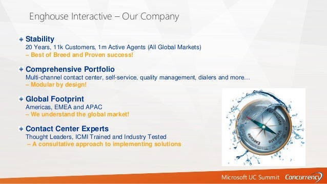 Microsoft UC Summit Enghouse Interactive – Our Company Stability 20 Years, 11k Customers, 1m Active Agents (All Global Mar...