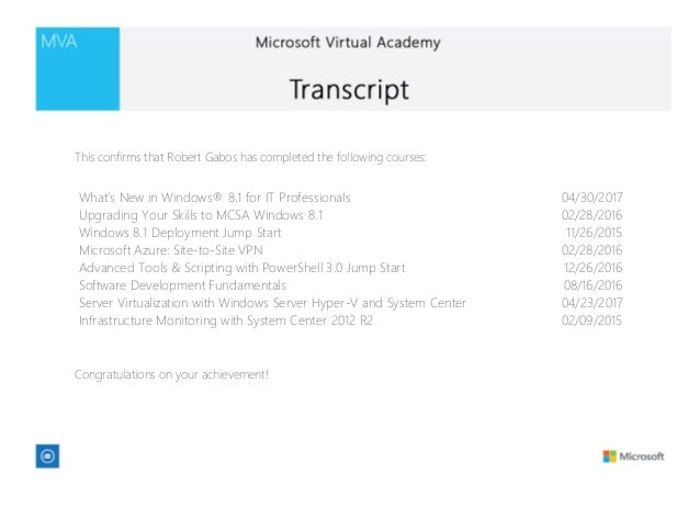 Microsoft Virtual Academy Transcript