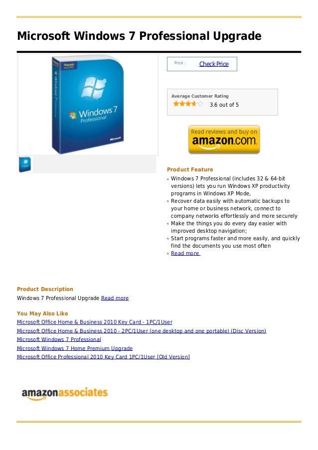 Microsoft Windows 7 Professional Upgrade                                                               Price :            ...