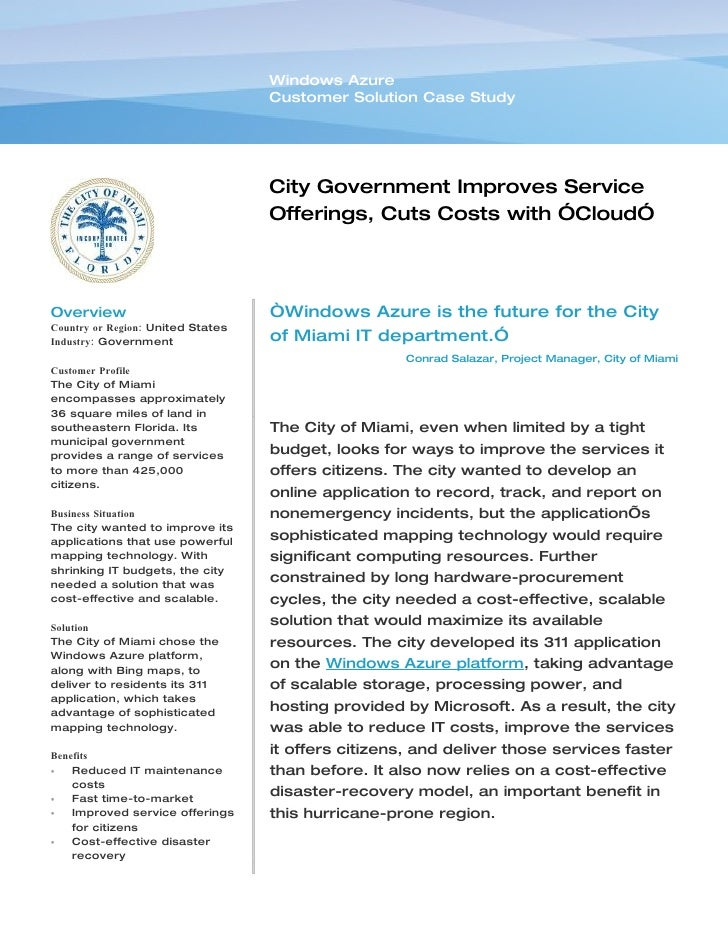 Microsoft Windows Azure - City Government Of Miami Improves Service O…