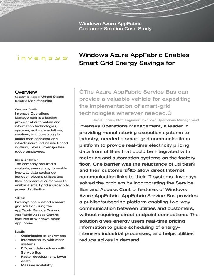 Microsoft Windows Azure - Invensys Manufacturing Enables Smart Grid Energy Savings Case Study