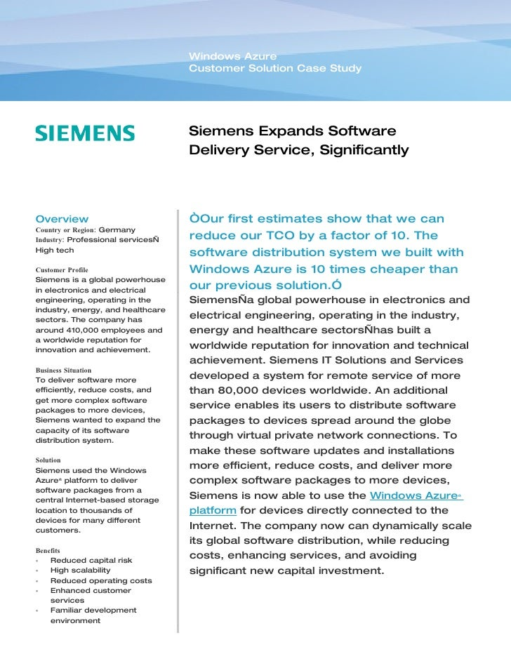 Windows Azure                                    Customer Solution Case Study                                        Sieme...