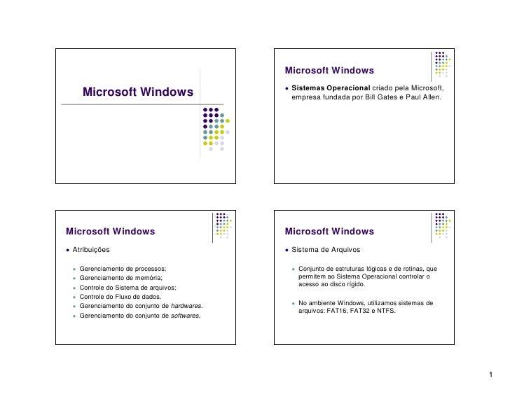 Microsoft Windows                                                      Sistemas Operacional criado pela Microsoft,       ...