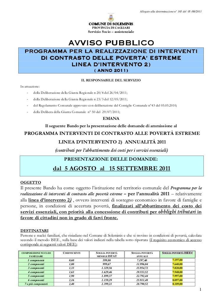 Allegato alla determinazione n° 165 del 05 /08/2011                                               COMUNE DI SOLEMINIS     ...