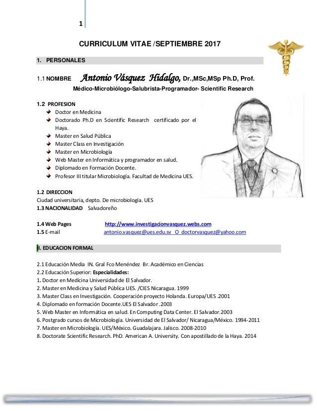 A Curriculum Vitae Dr Antonio Vasquez Hidalgo