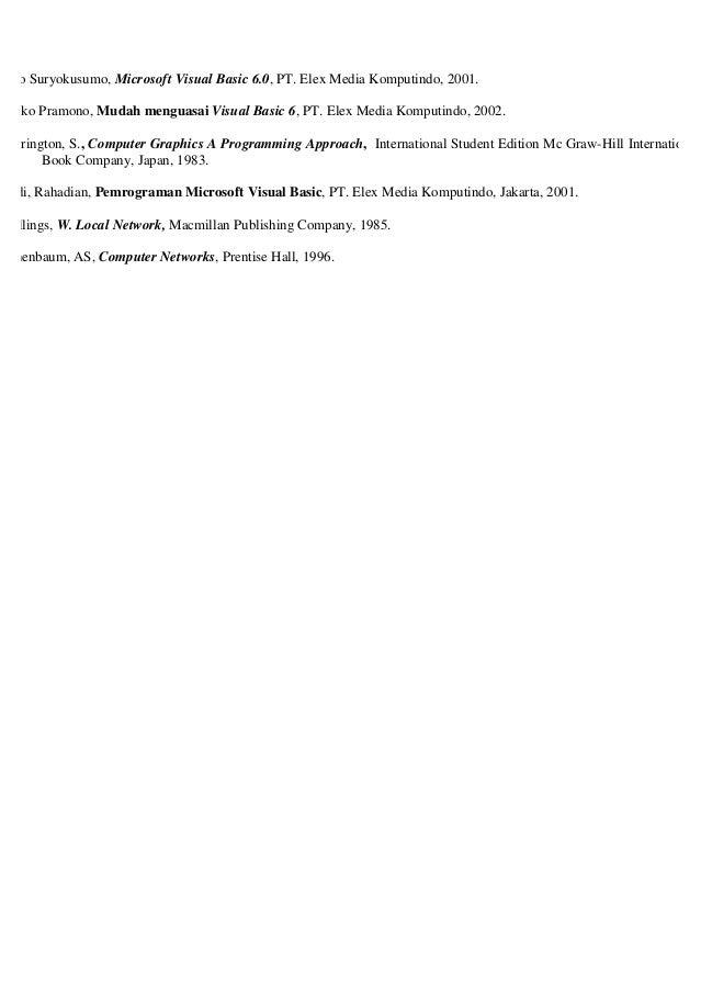 Ario Suryokusumo, Microsoft Visual Basic 6.0, PT. Elex Media Komputindo, 2001. Djoko Pramono, Mudah menguasai Visual Basic...