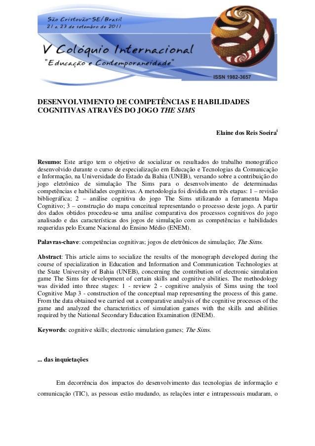 1DESENVOLVIMENTO DE COMPETÊNCIAS E HABILIDADESCOGNITIVAS ATRAVÉS DO JOGO THE SIMS                                         ...