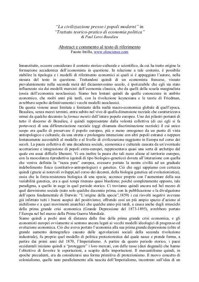 """""""La civilizzazione presso i popoli moderni"""" in """"Trattato teorico-pratico di economia politica"""" di Paul Leroi-Beaulieu Abst..."""