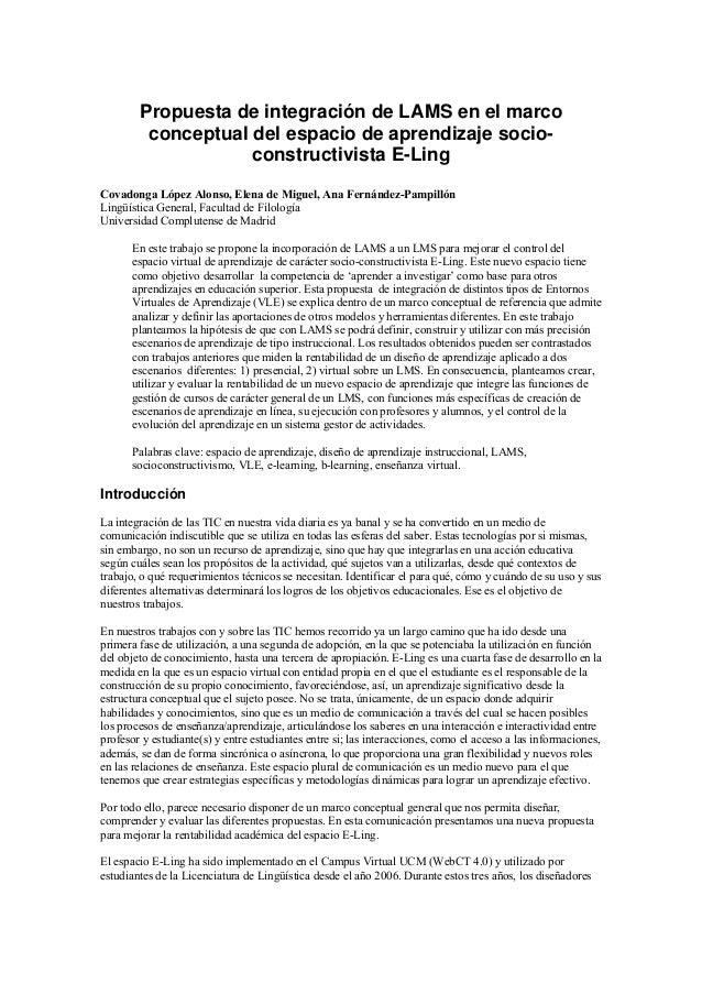 Propuesta de integración de LAMS en el marco conceptual del espacio de aprendizaje socio- constructivista E-Ling Covadonga...