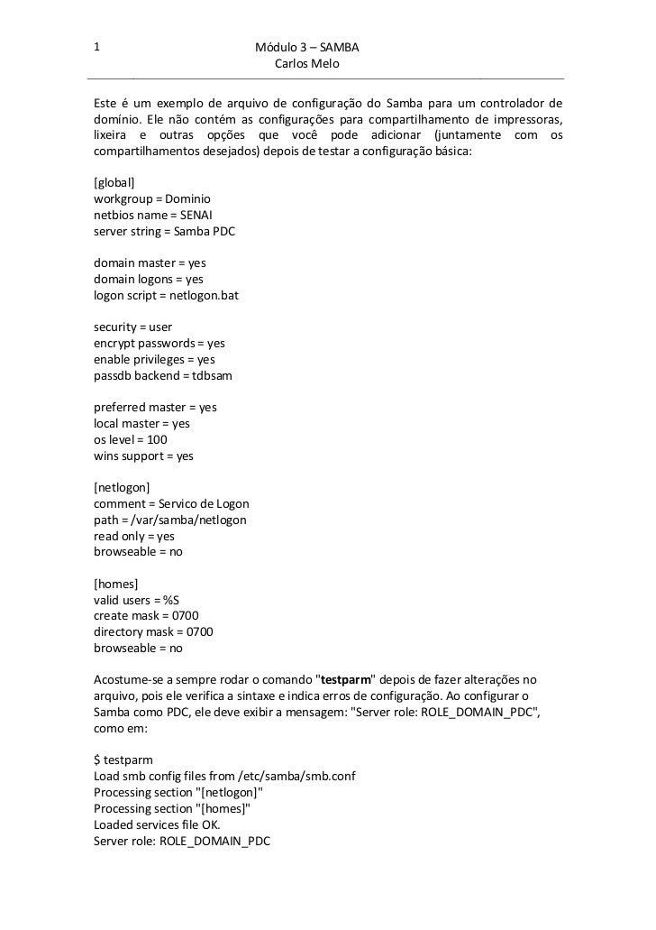 1                             Módulo 3 – SAMBA                                Carlos MeloEste é um exemplo de arquivo de c...