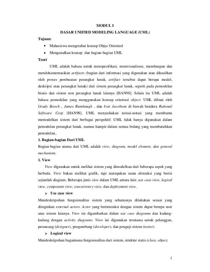 MODUL I              DASAR UNIFIED MODELING LANGUAGE (UML)Tujuan:   •    Mahasiswa mengetahui konsep Objec Oriented   •   ...
