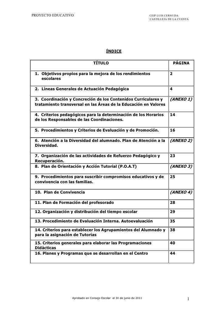PROYECTO EDUCATIVO                                                      CEIP LUIS CERNUDA                                 ...