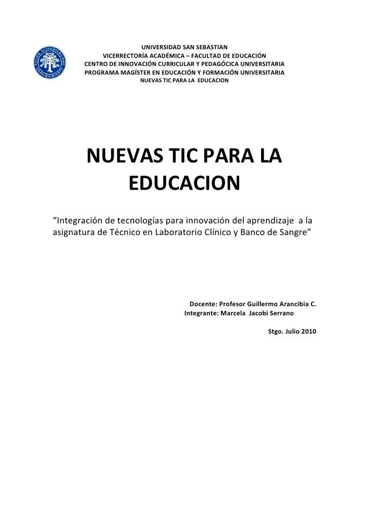 UNIVERSIDAD SAN SEBASTIAN             VICERRECTORÍA ACADÉM                           ACADÉMICA – FACULTAD DE EDUCACIÓN    ...