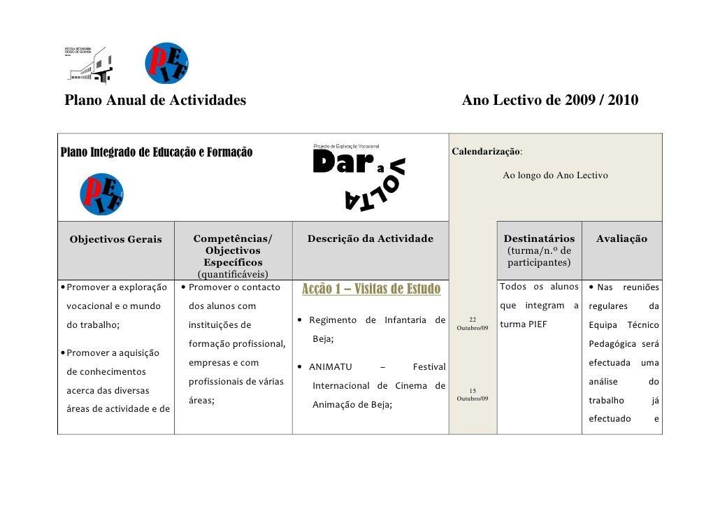 Plano Anual de Actividades                                                                Ano Lectivo de 2009 / 2010   Pla...