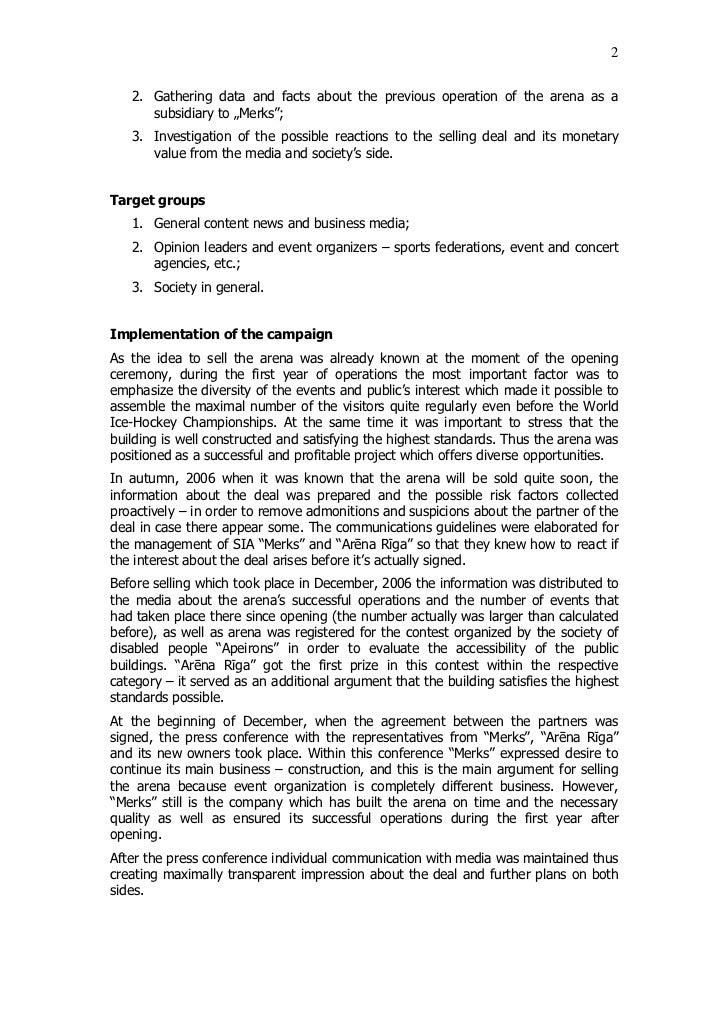 "Issues and Crisis Communications 2007 / 2nd Place / ""Arēna Rīga"" pārdošana Slide 2"
