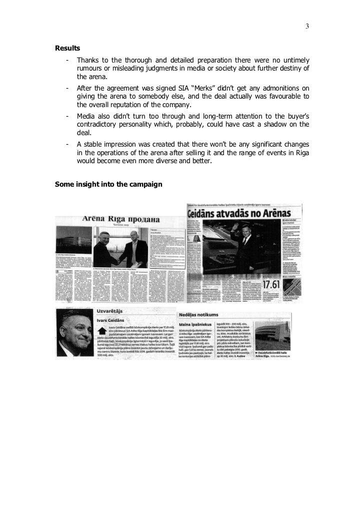 "Issues and Crisis Communications 2007 / 2nd Place / ""Arēna Rīga"" pārdošana Slide 3"
