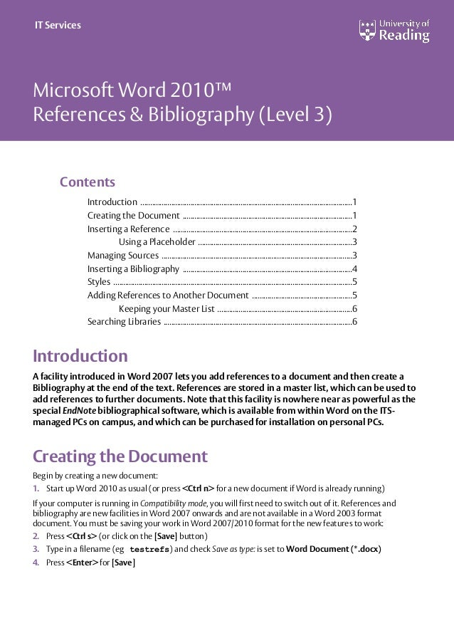 Microsoft Word 2010™ References & Bibliography (Level 3) Contents Introduction ..............................................