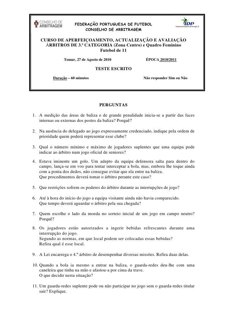 FEDERAÇÃO PORTUGUESA DE FUTEBOL                            CONSELHO DE ARBITRAGEM      CURSO DE APERFEIÇOAMENTO, ACTUALIZA...