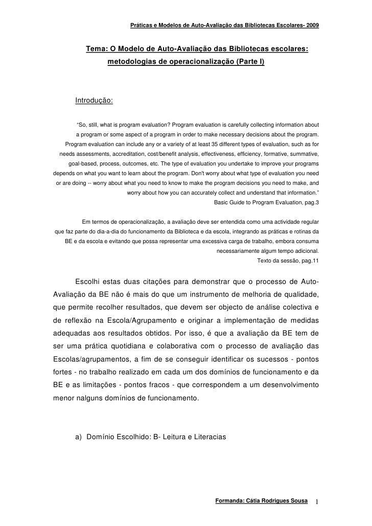 Práticas e Modelos de Auto-Avaliação das Bibliotecas Escolares- 2009                Tema: O Modelo de Auto-Avaliação das B...