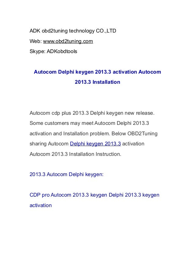 🔥 Autocom / Delphi 2013 3 keygen ( activation 2013 release