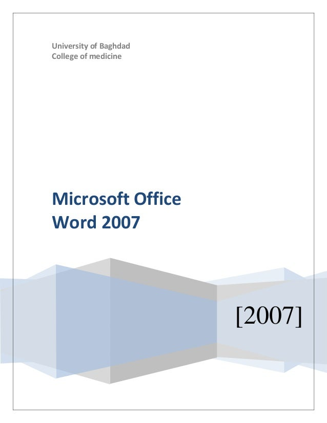 University of Baghdad College of medicine [2007] Microsoft Office Word 2007