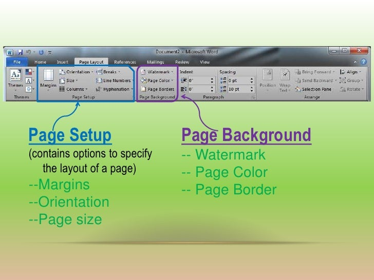 page setup page backgroundcontains